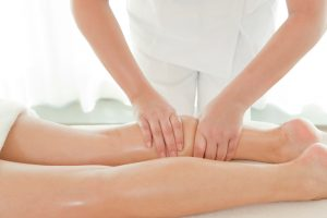 Sports leg massage at work