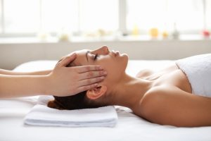 Relaxing facial and head massage