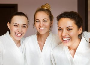 Pamper party friends enjoying spa day